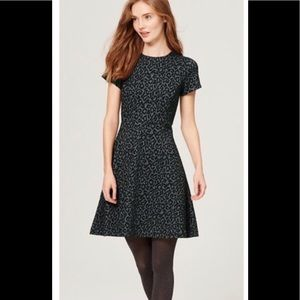 LOFT leopard print fit and flare dress